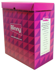 Binny the disposable sanitary bin